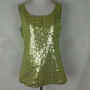 New Anne Klein lime green sequin blouse med